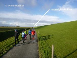 Nach vier Kilometern kam nur eine ganz leichte Kurve :-)
